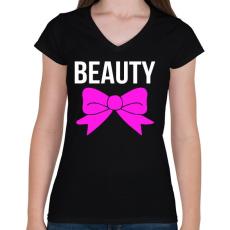 PRINTFASHION BEAUTY - Női V-nyakú póló - Fekete