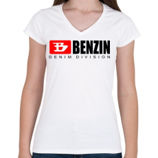 PRINTFASHION benzin - Női V-nyakú póló - Fehér