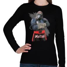 PRINTFASHION Gorilla thai box - Női hosszú ujjú póló - Fekete