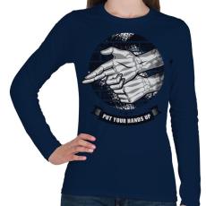 PRINTFASHION Kezeket fel!  - Női hosszú ujjú póló - Sötétkék