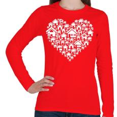 PRINTFASHION Otthon - Női hosszú ujjú póló - Piros