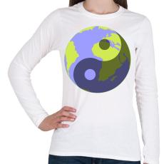 PRINTFASHION Yin-Yang bolygó - Női hosszú ujjú póló - Fehér