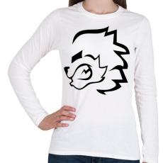 PRINTFASHION stencil oroszlán - Női hosszú ujjú póló - Fehér