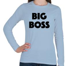 PRINTFASHION BIG BOSS - Női hosszú ujjú póló - Világoskék