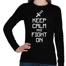 PRINTFASHION Minecraft - Csak nyugi és harcolj! - Női hosszú ujjú póló - Fekete