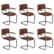 6 db barna valódi bőr étkezőszék karfával kerti bútor