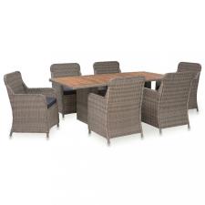 7 részes barna kültéri polyrattan étkezőgarnitúra párnákkal kerti bútor