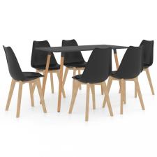 7 részes fekete étkezőszett bútor