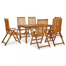 7 részes kültéri tömör akácfa étkezőszett kerti bútor