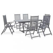 7 részes szürke tömör akácfa kültéri étkezőgarnitúra kerti bútor