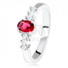 925 ezüst eljegyzési gyűrű, ovális, piros kő, átlátszó cirkóniák gyűrű