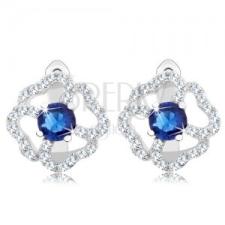 925 ezüst fülbevaló, virág - átlátszó cirkóniás szirmok, kék közép fülbevaló