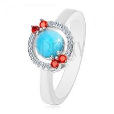925 ezüst gyűrű - cirkóniás karika, akvamarin-kék közép gyűrű