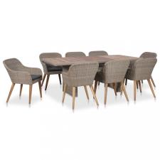 9 részes kültéri polyrattan étkezőgarnitúra párnákkal kerti bútor