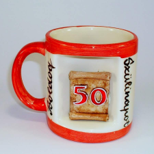 Ablakos bögre Évszámos 50 éves (Fehér, narancs csíkkal) vicces ajándék