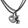 Acél kettétörhető medálos LOVE + szív páros nyaklánc