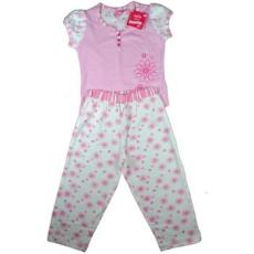 Adams csíkos-virágos pizsama, rózsaszín, rövid ujjú
