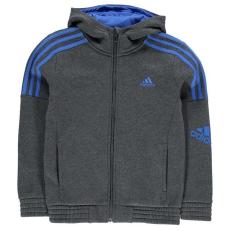 Adidas Adidas gyerek cipzáras pulóver - adidas 3S Logo Full Zip Hoody Junior Boys DrGrey Blue