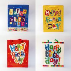 Ajándéktasak, ajándéktáska, Happy Birthday színes, kicsi 23x18x8 cm (Fehér)