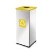 Alda Prestige EKO Square fém szemétkosár szelektív hulladékgyűjtéshez, 60 l űrtartalom, Kapacitás: 60 L, Szín: Szürke/ezüst, Kupak színe: Sárga, Hulladék s%