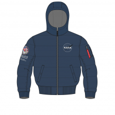 Alpha Industries Hooded Puffer Apollo 11 - replica blue