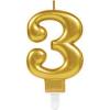 Amscan Europe GmbH AMSCAN számgyertya arany, 8cm, 3