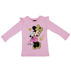Andrea Kft. Disney Minnie mintás, fodros vállú, hosszú ujjú lányka póló