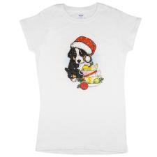 Andrea Kft. Karácsonyi kutyás női póló M Fehér női póló