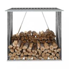 Antracit horganyzott acél kerti tűzifatároló 163 x 83 x 154 cm hűtés, fűtés szerelvény