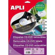 APLI Etikett, CD/DVD, A4, matt, eltávolítható, APLI etikett