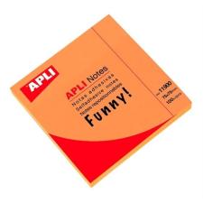 APLI Öntapadó jegyzettömb, 75x75 mm, 100 lap, APLI, neon narancs jegyzettömb