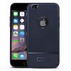 Apple iPhone 6 Plus / 6S Plus, TPU szilikon tok, bőrhatású, szálcsiszolt, logo kivágással, sötétkék