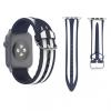 AppleKing Szilikon Apple Watch szíj - 38mm - kék / fehér