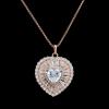 Arannyal bevont elegáns szív nyaklánc áttetsző CZ kristályokkal + AJÁNDÉK DÍSZDOBOZ (0218.)