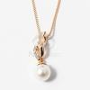Arany bevonatos gyöngy medálos nyaklánc fehér jwr-1292