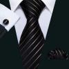 Arany csíkos fekete selyemnyakkendő mandzsettagombbal dísz-zsebkendővel