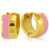 Arany színű nemesacél fülbevaló rózsaszín dísszel