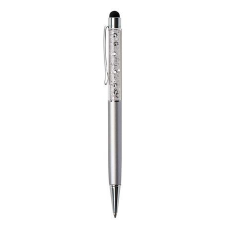 ART CRYSTELLA Golyóstoll, ezüst színű, felül fehér SWAROVSKI® kristállyal töltve, érintővel, 14 cm, ART CRYSTELLA® toll