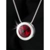 ART CRYSTELLA Nyaklánc, ezüstözött kerek medállal, light siam piros SWAROVSKI® kristállyal, 15mm, ART CRYSTELLA®