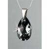 ART CRYSTELLA Nyaklánc, SWAROVSKI® kristállyal, cseppformájú medállal, black diamond, 16mm, ART CRYSTELLA