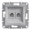 ASFORA Informatikai csatlakozóaljzat 2xRJ45 / RJ12,Cat5e UTP, aluminium burkolattal, keret nélkül ( Schneider electric EPH4900161 )