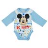 "Asti Disney Mickey ""Be happy"" hosszú ujjú baba body fehér-kék 68"
