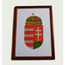 Asztalra tehető és falra akasztható üveglapos fakeretes címer 21X30 cm ajándéktárgy