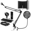 Auna CM001B mikrofon készlet V5 kondenzátoros mikrofon, mikrofonkar, pop szűrő, panel, fekete