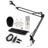 Auna CM001S mikrofon készlet V3, kondenzátoros mikrofon, USB-adapter, mikrofonkar, ezüst