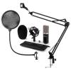 Auna CM003 mikrofon készlet V4 kondenzátoros mikrofon, XLR, mikrofon kar, POP szűrő, fekete