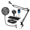 Auna MIC-900WH-LED, v4 USB mikrofon készlet, fehér, kondenzátoros mikrofon, POP szűrő, mikrofonkar, LED