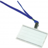 Azonosítókártya tartó, kék nyakba akasztóval, 85x50 mm, műanyag, DONAU 50 lapos