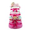 Babaváró ajándék ötlet: Rózsaszín négy emeletes pelenkatorta macikkal