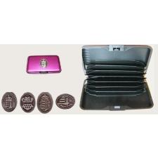 Bankkártya tartó metál pink színű ón Erdély címer matricával kiegészítő irodaberendezés